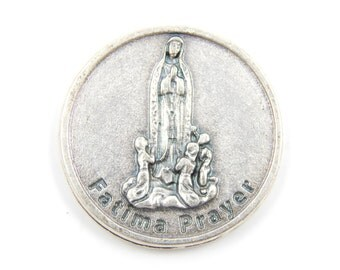 Our Lady of Fatima Catholic Medal - Religious Medallion - Pocket Medallion - Virgin Mary Token