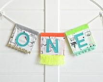 Festival One Highchair Banner / Whimsical and Handmade First Birthday Boy Decorations / One Birthday Sign / Neon First Birthday