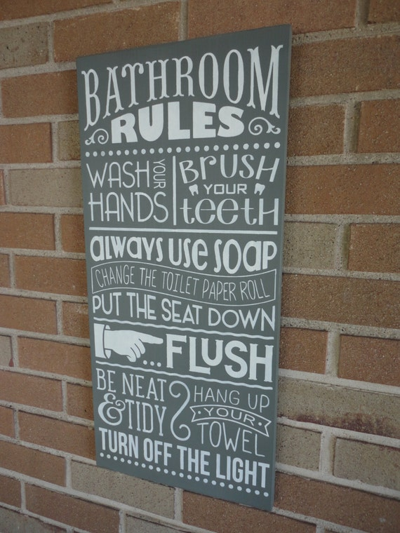 Bathroom decor bathroom rules sign home decor bathroom for Bathroom decor rules