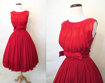 "Stunning 1950's Lipstick Red Silk Chiffon Cocktail Party Dress w/ Shelf Bust by ""R & K Originals"" Rockabilly VLV Pinup Vixen Size-Medium"