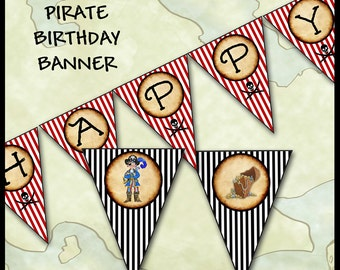 Pirate Party Banner / Happy Birthday / DIY Printable Party Décor / Bunting Flag Card Sign / Alphabet / Classroom Decoration