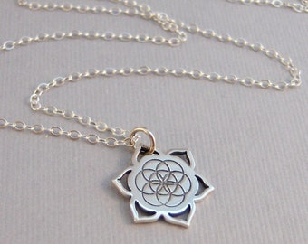 Flower Of Life,Necklace,Flower Necklace,Sterling Neckllace,Sterling Flower,Sterling Mandala,Mandala,Mandala Necklace,Sacred Geometry,