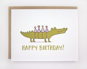 Crocodile Party Hats - Birthday Card