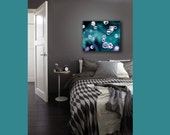 Large Abstract Canvas Art, Teal, Powder Room Art, Bubbles, Bathroom Decor, Modern, Teal Wall Art Canvas