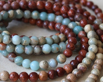 African Opal Round Gemstone Mala Beads - Jewelry Making Supply - 6mm Round Gemstone (16 Inch Strand)