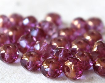 5x7mm Rondelle - Czech Glass Beads - Jewelry Making Supplies - Transparent Pink Rose With Copper Luster (10 or 25 beads)