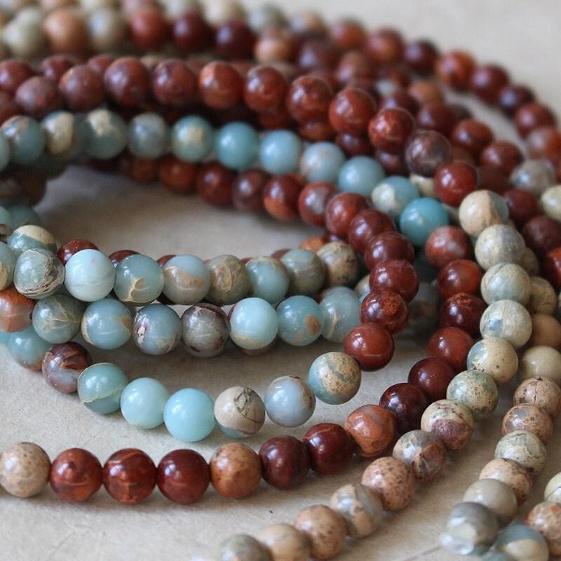 African opal round gemstone mala beads jewelry making for Birthstone beads for jewelry making
