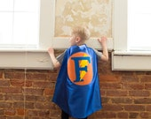 Boy Blue and Orange Superhero Cape - Easy Christmas costume - Personalized cape for Boy custom gift, FAST SHIPPING w/