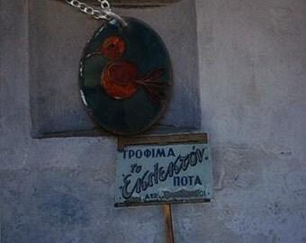 tangerine and teal hummingbird pendant