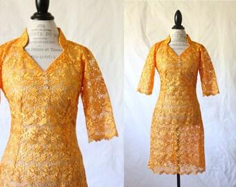 c1960's Sheer Marigold Lace Dress