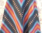 Vintage 70's Navajo wool high waist chevron black rainbow skirt Small