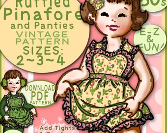 Easy SUN DRESS Pattern 3 sizes Adorable Dress with Matching Panties Child Girl Toddler Vintage 1950 Sunsuit Pinafore baby e-pattern pdf