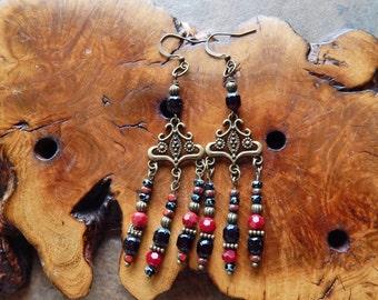 Red and black chandelier earrings, brass dangle earrings, gypsy earrings, bohemian jewelry, boho goddess earrings