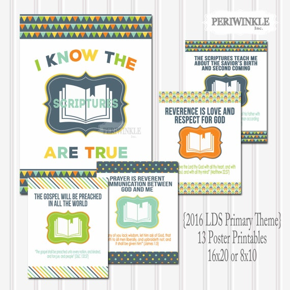 2016 LDS Primary Theme-13 Monthly Printables-I Know the Scriptures Are ...