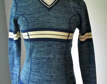 70s Blue & White V-Neck Sweater by Full Fashion - 100% Acrylic