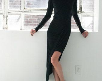 Black Dress / Cocktail Dress / Maxi Dress / Party Dress / Asymmetric Dress / Unique Jersey Dress / marcellamoda Design - MD306