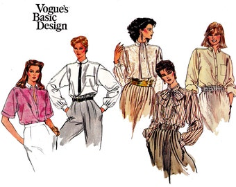 80s Womens Steampunk Blouse Pattern Vogue Basic Design 1081 Vintage Sewing Pattern Size 12 14 16 Bust 34 36 38 inches UNCUT Factory Folded