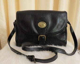 Vintage de Moina Collection Black Genuine Leather Handbag Shoulder Crossbody Bag