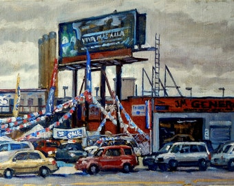 Used Cars, Broadway at 216th. 12x20 NYC Oil Cityscape on Canvas, Urban Realist New York City Fine Art, Signed Original Oil Painting