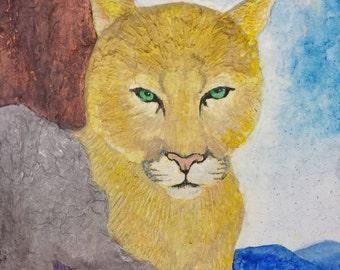 Mountain Lion portrait,big cat wall art,blue ridge mountains,VA wildlife,cougar portrait,flame bilyue, panther art,wildlife art