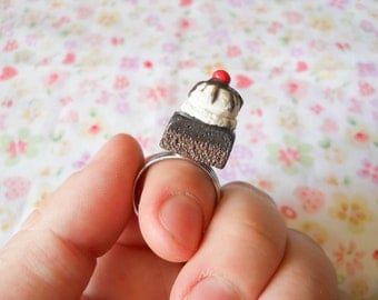 Brownie Ring, Food Ring, Miniature Food, Polymer Clay, Ring, Brownie Sundae, Ice Cream, Sweet Lolita, Kawaii Ring, Food Jewelry, Dessert