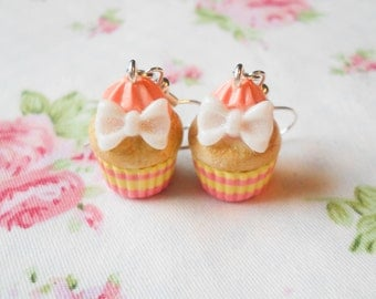 Bow Cupcake Earrings, Cupcake Earrings, Bow Earrings, Sweet Lolita, Cupcake, Food Earrings, Dessert, Kawaii, Polymer Clay, Charm Earrings