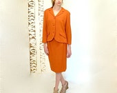 1950s Large Womens Suit  //  50s Tailored Suit  //  PUMPKIN SPICE
