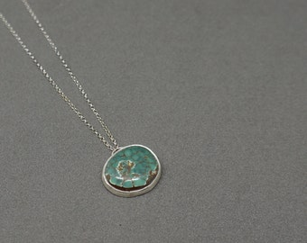 turquoise and silver necklace - freeform turquoise cabochon pendant