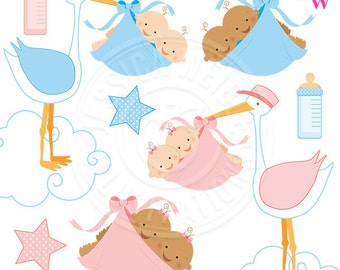 Special Delivery TWINS Cute Digital Clipart for Card Design, Scrapbooking, and Web Design