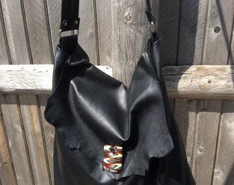 Black Leather Purse Hobo Purse Hobo Handbag Leather Hobo Bag Slouch Purse  Shoulder Bag Handmade Cowhide Leather Womens Purse