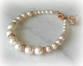 Rose Gold Bracelet, Swarovski Pearl and Crystal Rhinestone Bracelet, Wedding Bracelet - KARISS