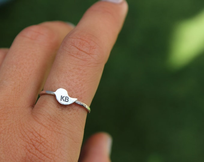 Little Bird Initial Ring - Bridesmaid Gift