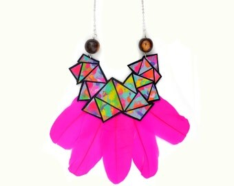 Colorful Geometric Necklace, Rainbow Triangle Hot Pink Feather Statement Necklace, Modern Geometric Jewelry, Hand Painted Leather Jewelry