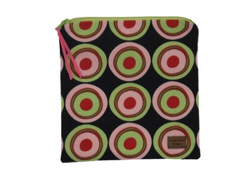 Sandwich Size Bag - Pink and Green Circles on Black