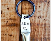 Entwined Hearts, Bullet Shell, Wedding, Lovers, Key Ring, Rifle Casing, Hand Stamped, Personalized, Fob, Bride Groom, Fired Bullet Jewelry