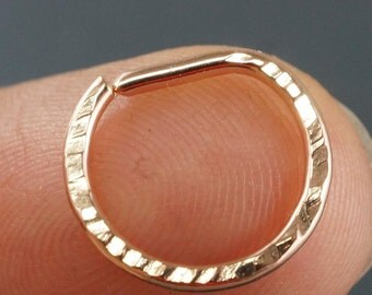 Septum Ring - 16g - D Septum Ring - Nose Ring - Nose Hoop - Nose Jewelry - Rose Gold - Cartilage Ring Silver   No.00E50