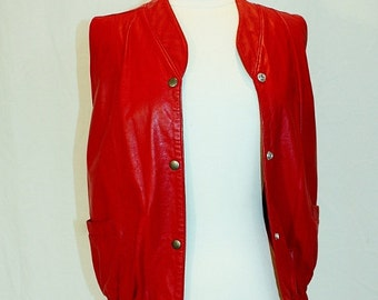 1980's Red Leather Vest Small Siena Vintage Retro 80's Snaps Blouson Southwestern Hipster Grunge Motorcycle Hip Hop
