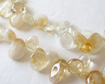 "Citrine Quartz Beads - Yellow Quartz Teardrop Pear Beads - Smooth Glass Pear Beads - Top Drilled Briolette - 16"" Strand - DIY Jewelry Making"