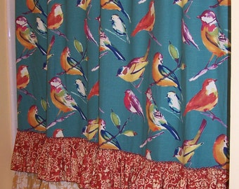 Teal Blue Shower Curtain with Bright & Colorful Plump Birds and Ruffles, Ruffles Ruffles -FABULOUS