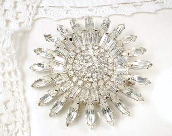 Bridal SASH Brooch OR HAiR CoMB, 1920 Vintage Large Round Paste Rhinestone Art Deco Wedding Dress Pin/Marquise Crystal Headpiece Accessory