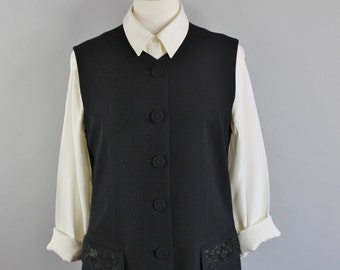 SALE - Vintage 90s Womens Black Wool Edwardian Steampunk Style Spring Vest // Office