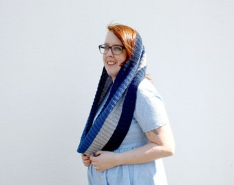 Striped Infinity Scarf, Hand Knitted Loop Scarf, Blue and Gray Long Cowl, Fall Fashion, Mens Cowl, Women's Winter Fashion, Cotton Scarf