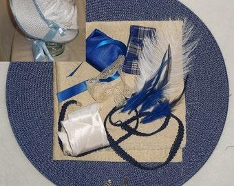 Bonnet Kit- DIY- Ivory and Blue- Regency, Georgian, Jane Austen Era Bonnet