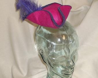 Pirate Hat Fascinator- Fuchsia Pink and Purple Mini Tricorn Hat