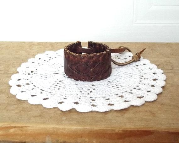 Vintage Handmade Womens Leather Cuff, Leather Bracelet, Chevron pattern, Boho Leather Band, Secret Hidden Compartment