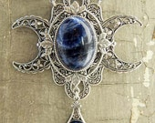 DANU -- Sodalite and Swarovski crystal Triple Moon Goddess Necklace by Crow Haven Road