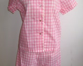 Vintage 50s 60s Deadstock Pink Cotton Gingham Slumber Party Pajamas size 34 NOS