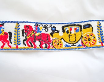 1970s Horse and Carriage Embroidered Trim