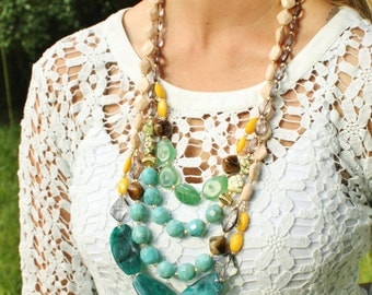 Long Chunky Beaded Multistrand Colorful Statement Necklace, Anthropologie, Moorland