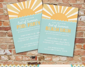 Summer Party Invitation- Pool Party / Beach Party / Beach Bash / End of Summer Party Invitation